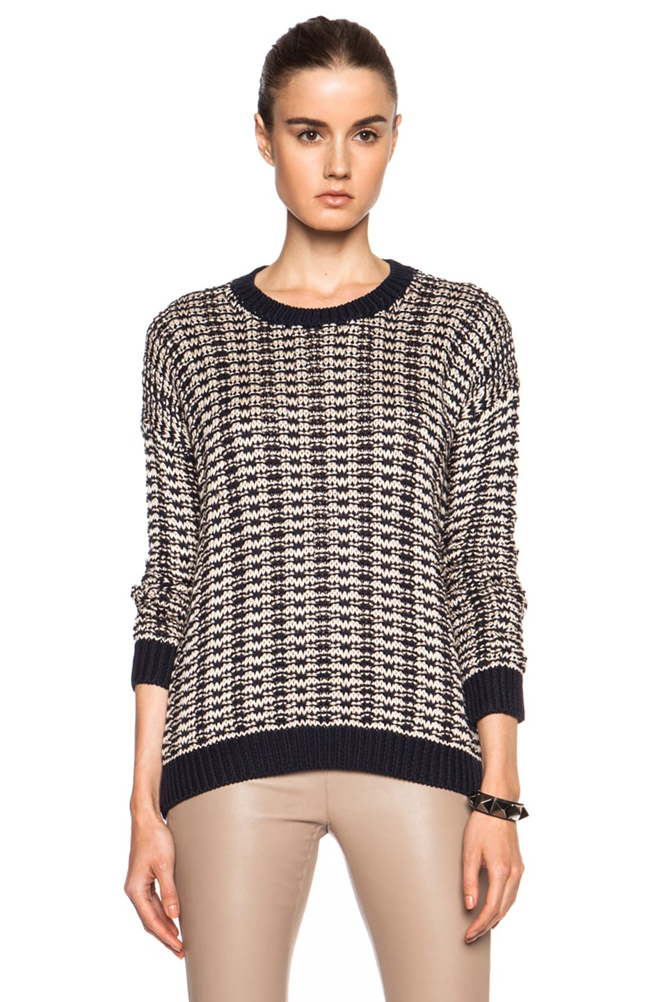 Vince Mercerized Texture Cotton Sweater in Coastal & Natural   FWRD