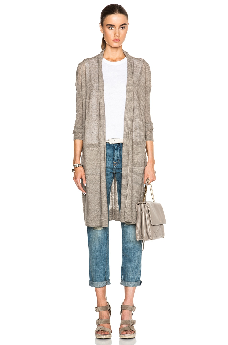 Vince Long Belted Cardigan in Rye | FWRD