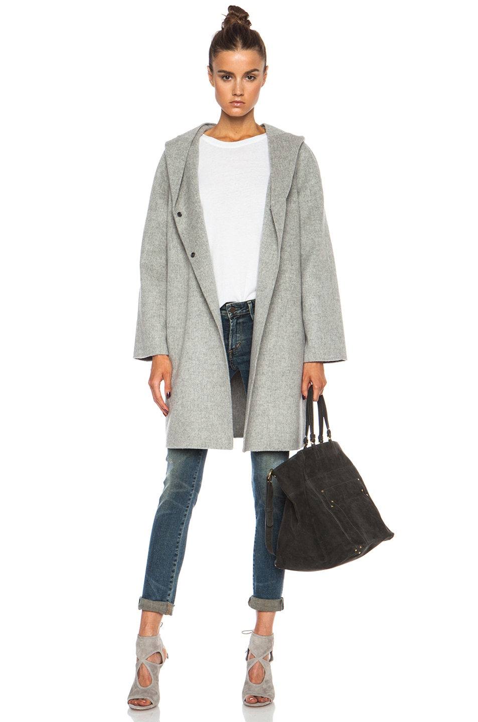 Image 1 of Vince Hooded Wool-Blend Coat in Heather Metal