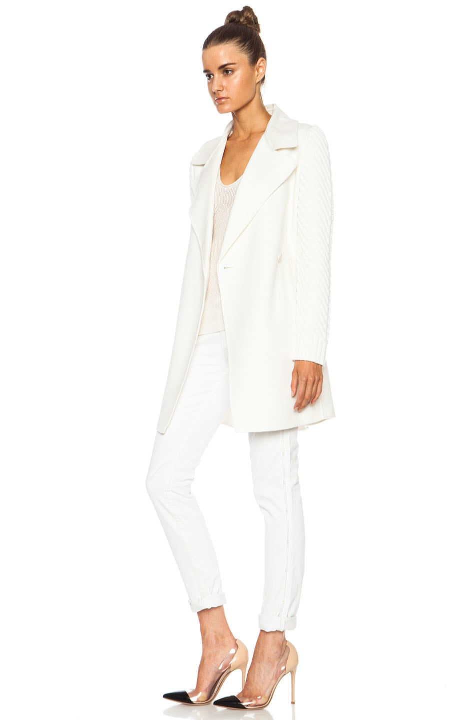 Vince Sweater Sleeve Wool-Blend Coat in Winter White | FWRD