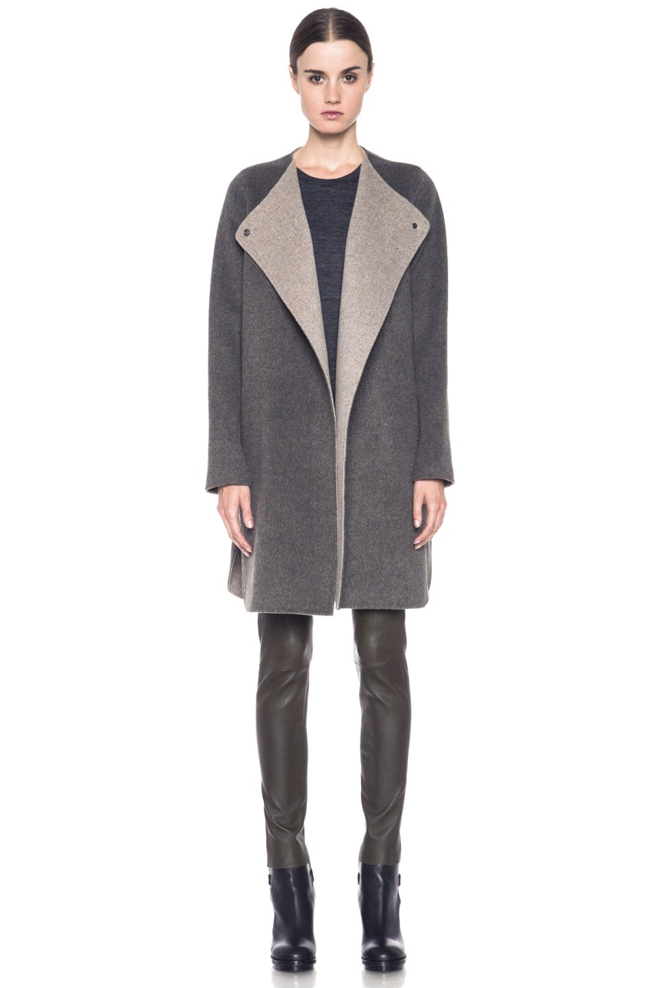 Image 1 of Vince Asymmetric Shirt Tail Coat in Heather Maple