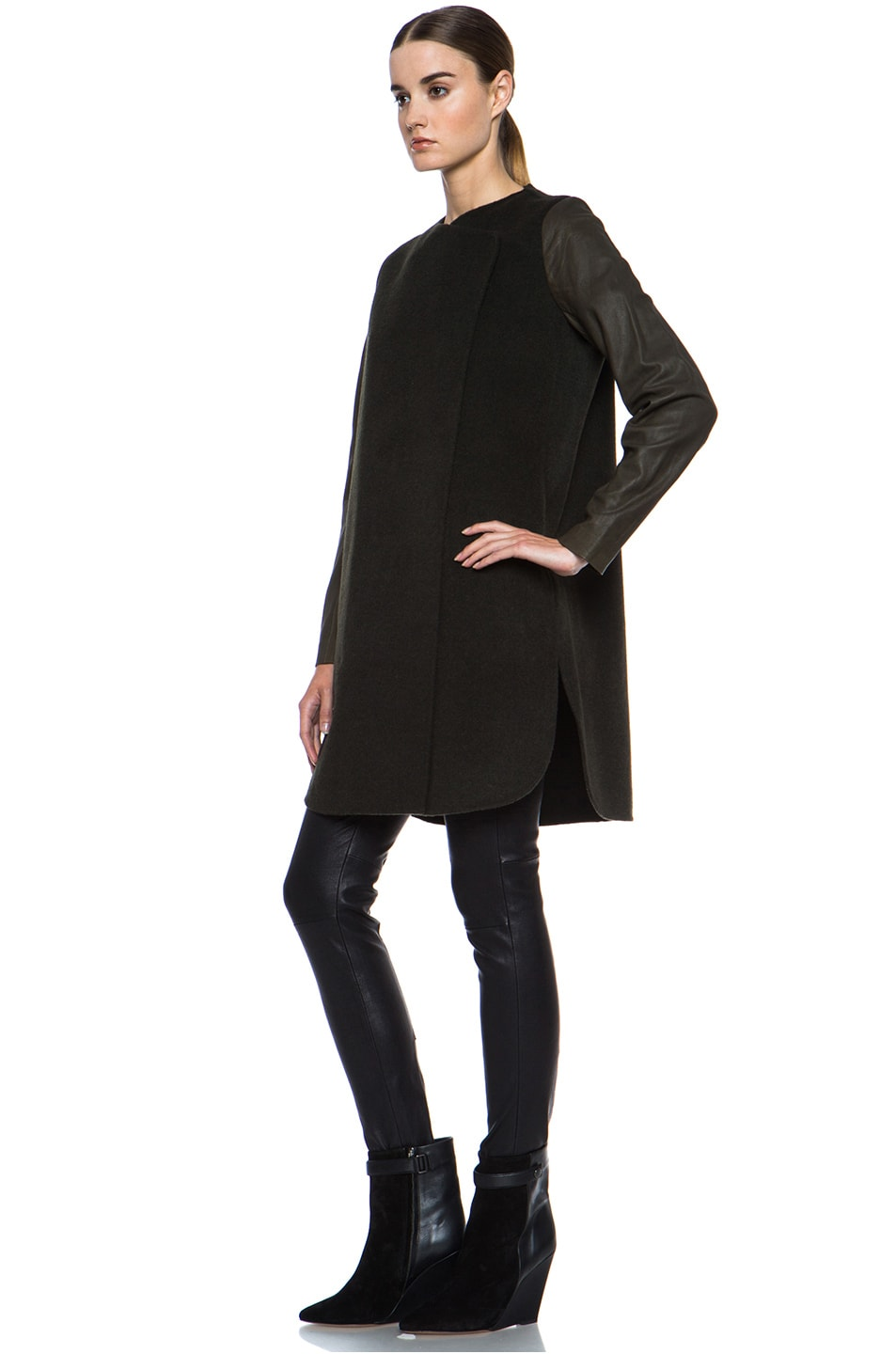 Vince Wool Coat with Leather Sleeves in Heather Moss | FWRD