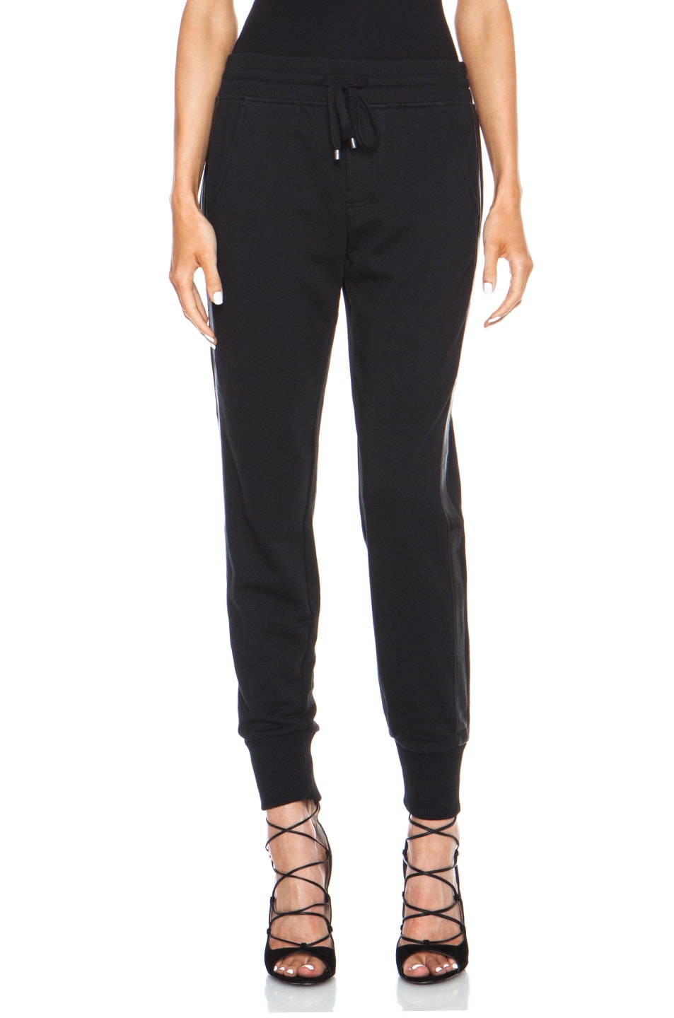 Image 1 of Vince Leather Strapping Cotton-Blend Pant in Black