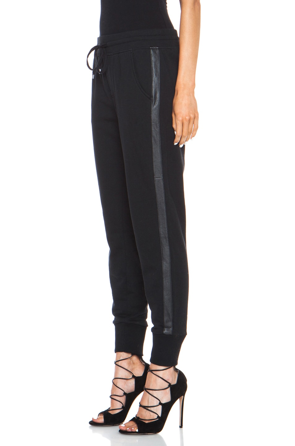Image 2 of Vince Leather Strapping Cotton-Blend Pant in Black