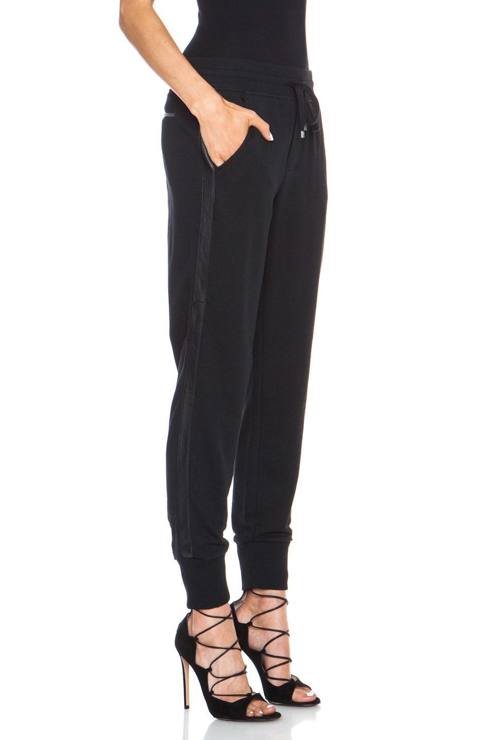 Image 3 of Vince Leather Strapping Cotton-Blend Pant in Black