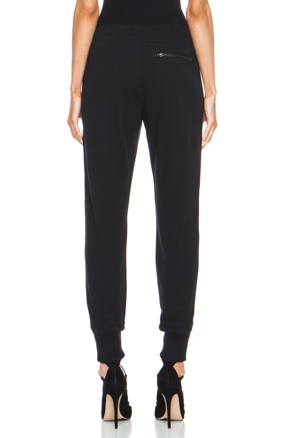 Image 4 of Vince Leather Strapping Cotton-Blend Pant in Black