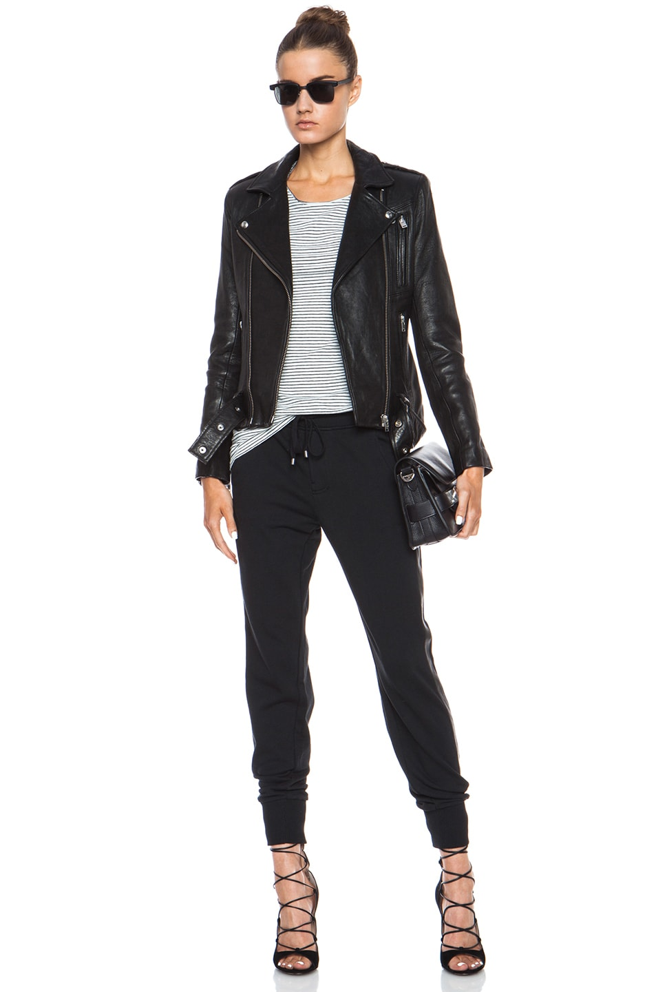Image 5 of Vince Leather Strapping Cotton-Blend Pant in Black