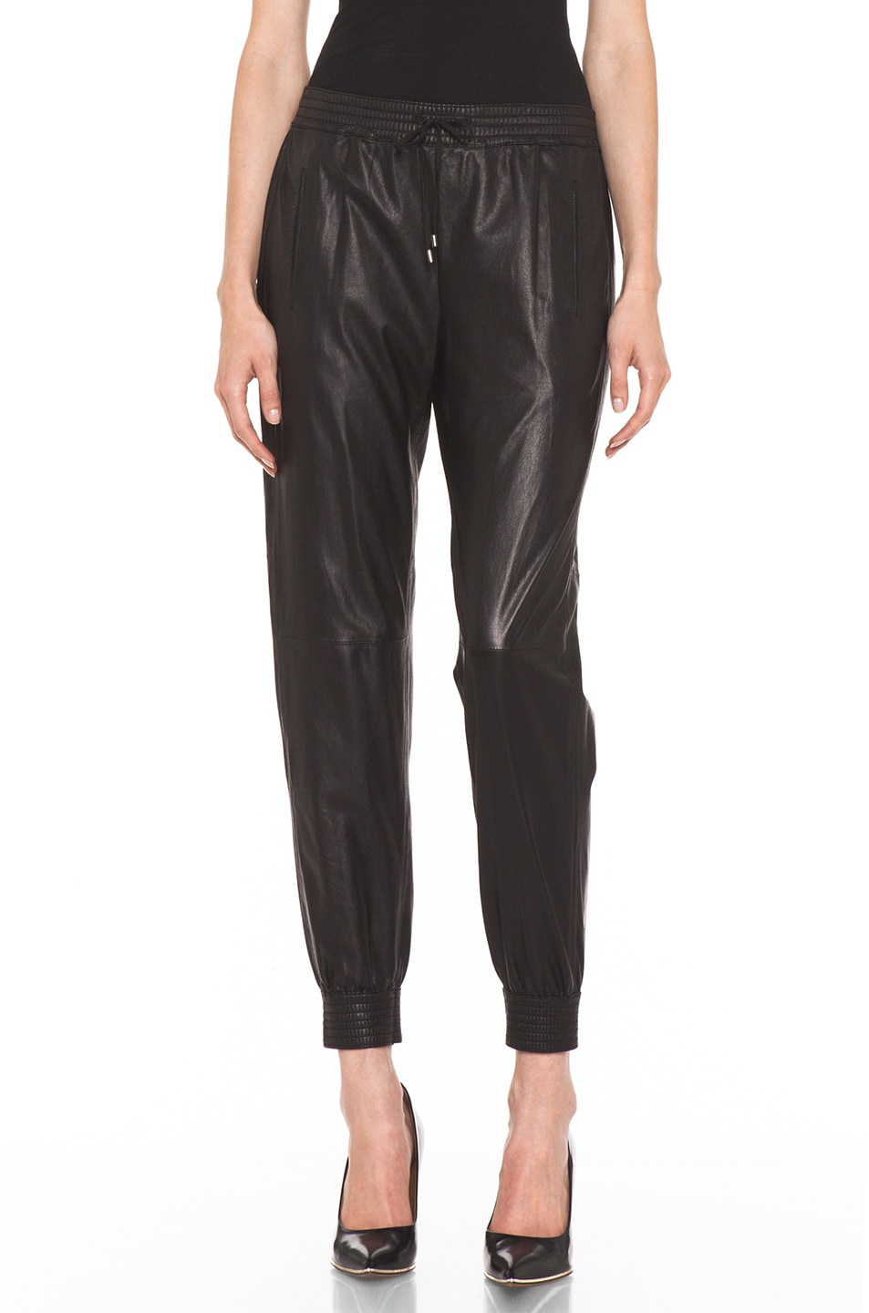 Image 1 of Vince Leather Jogging Pant in Black
