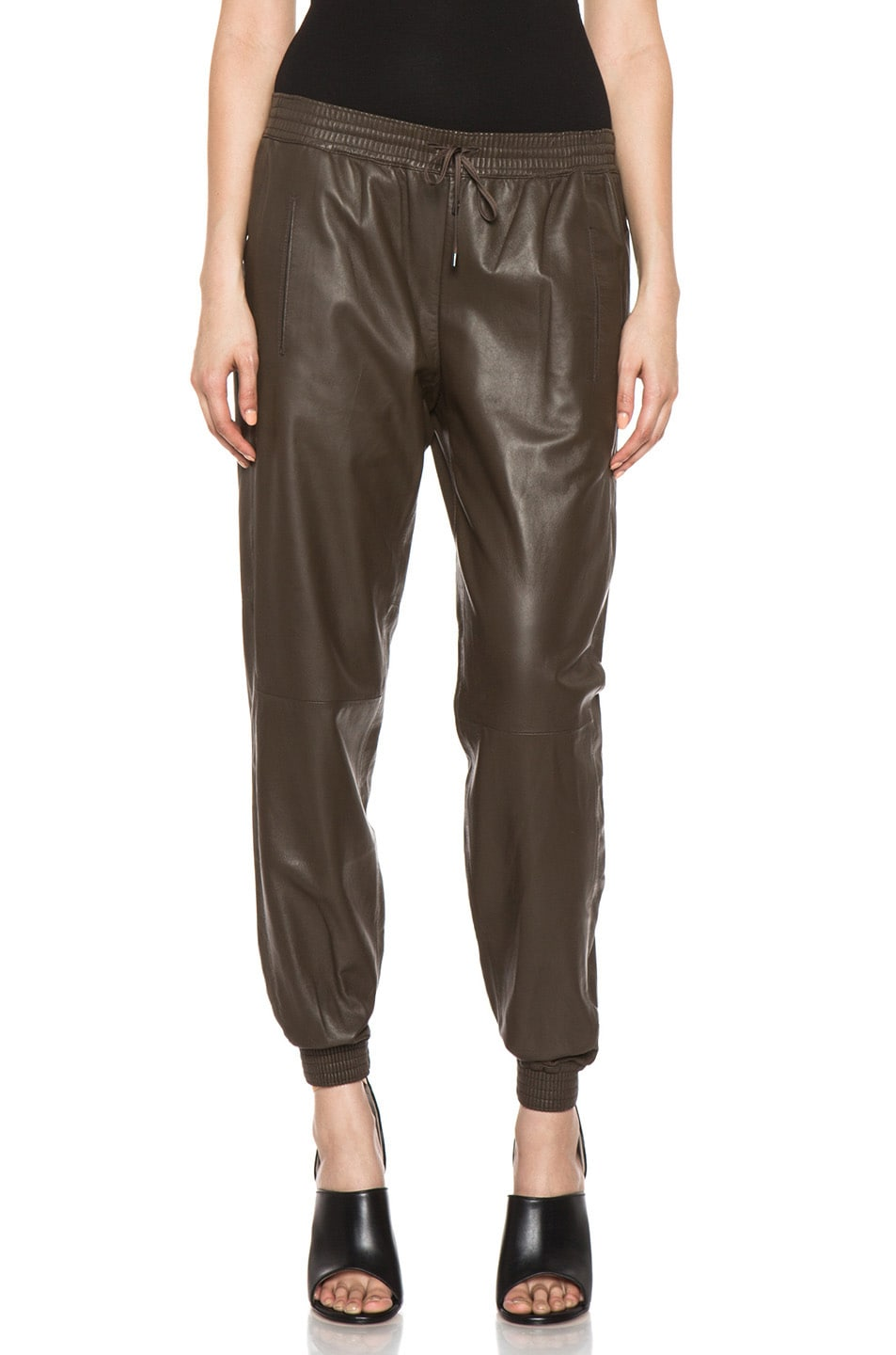 Image 1 of Vince Leather Jogging Pant in Olive