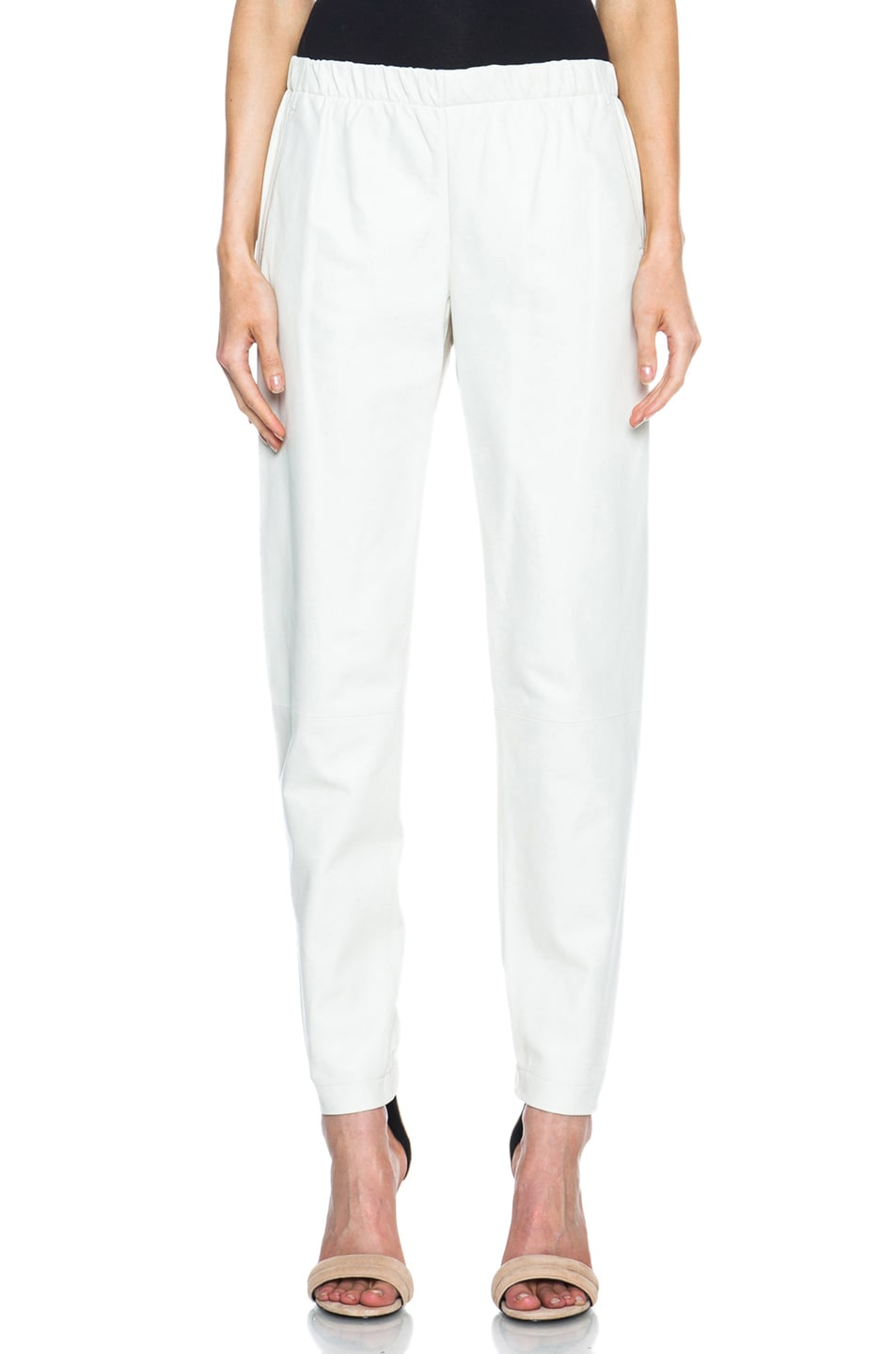 Image 1 of Vince Leather Jogging Pant in Chalk