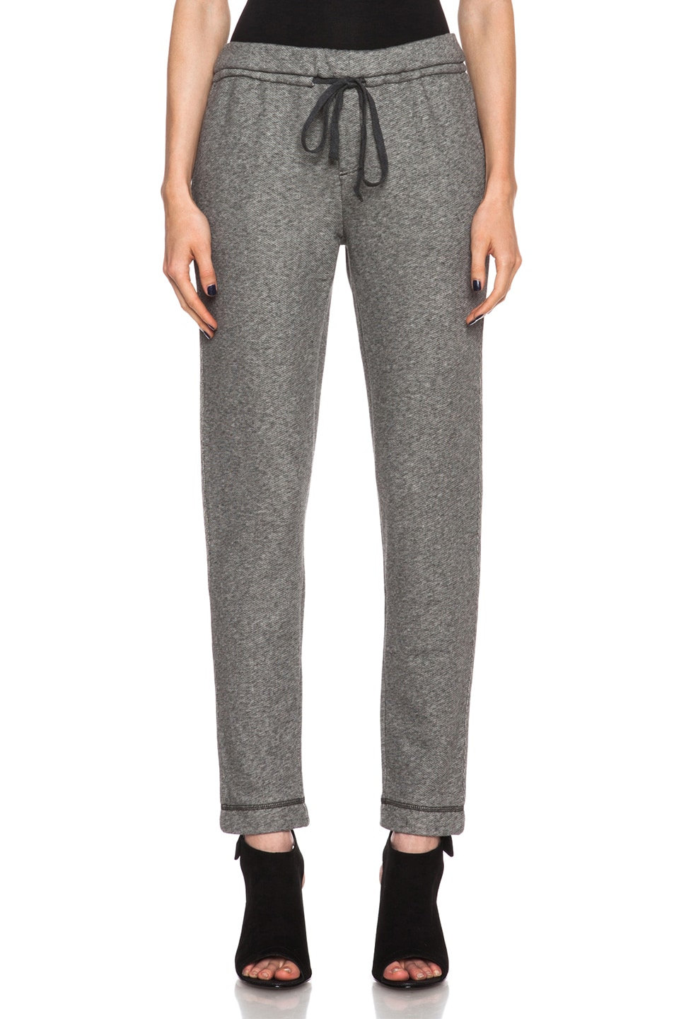 Image 1 of Vince Piped Cotton Sweatpants in Medium Heather Grey