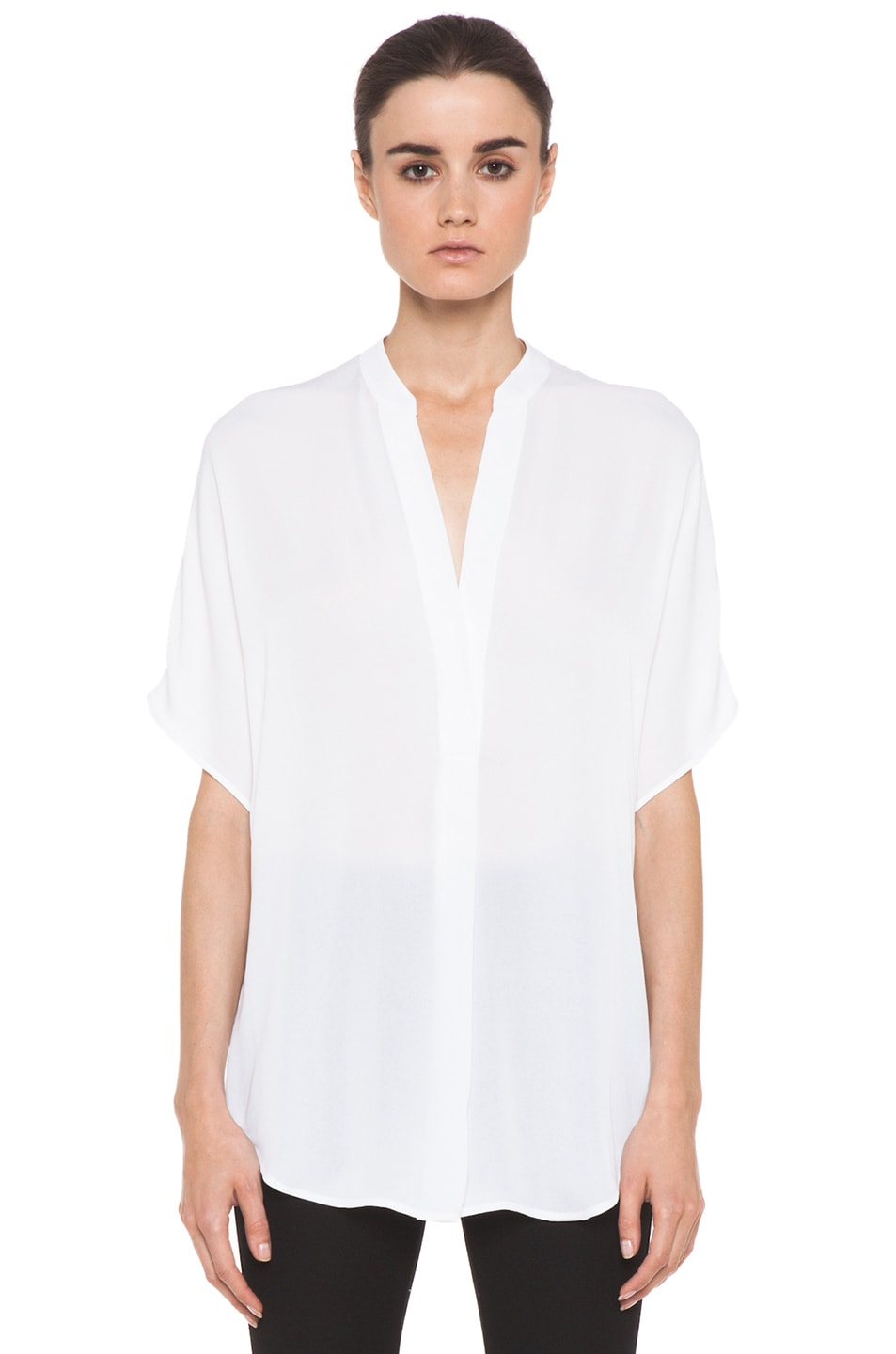 Image 1 of Vince Georgette Cap Sleeve Half Placket Blouse in White