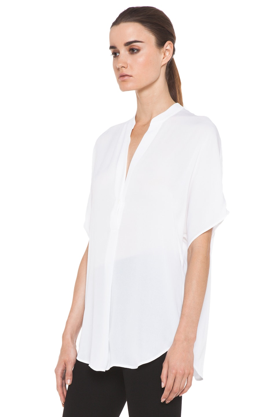 Image 2 of Vince Georgette Cap Sleeve Half Placket Blouse in White