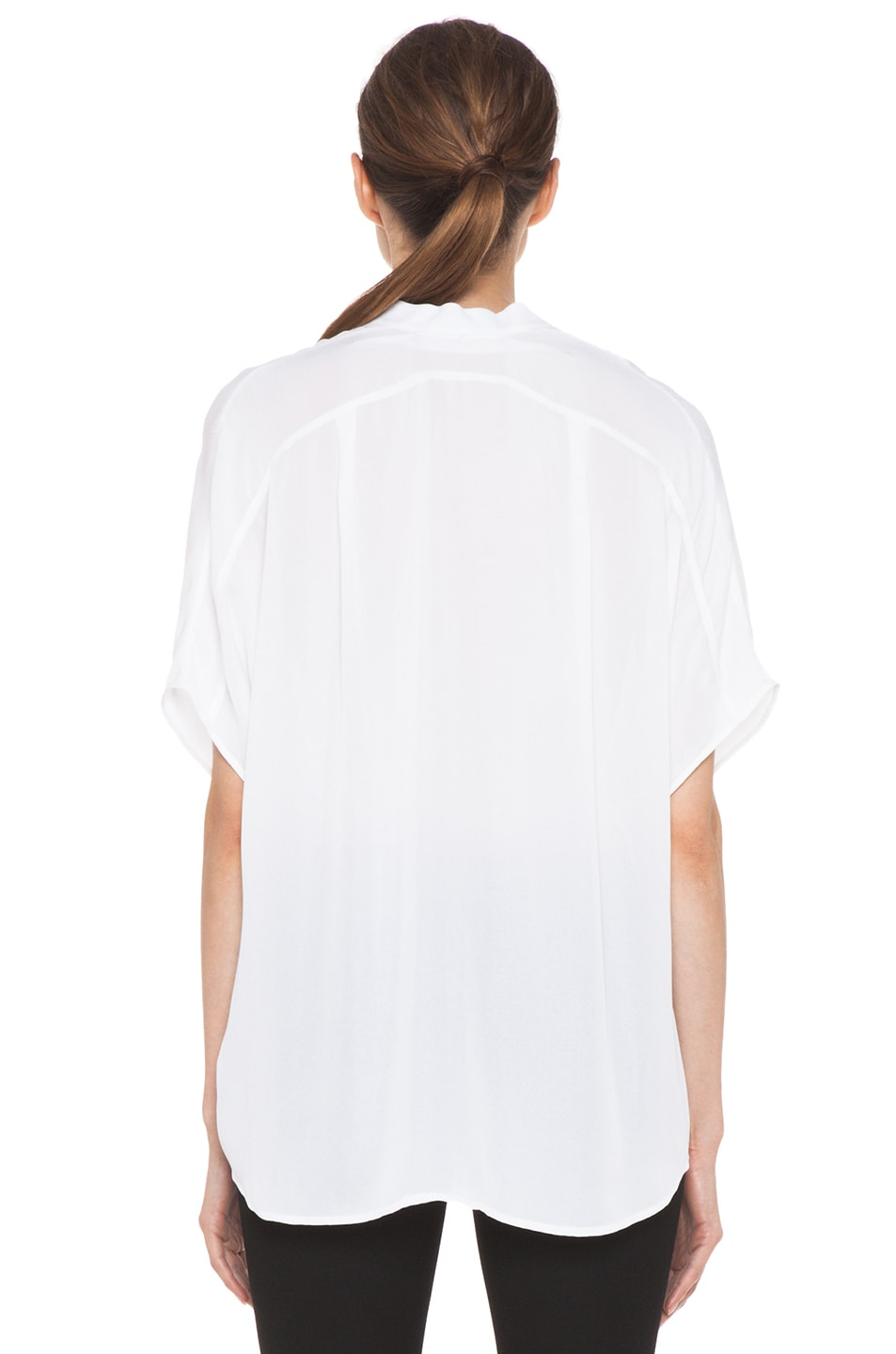 Image 4 of Vince Georgette Cap Sleeve Half Placket Blouse in White