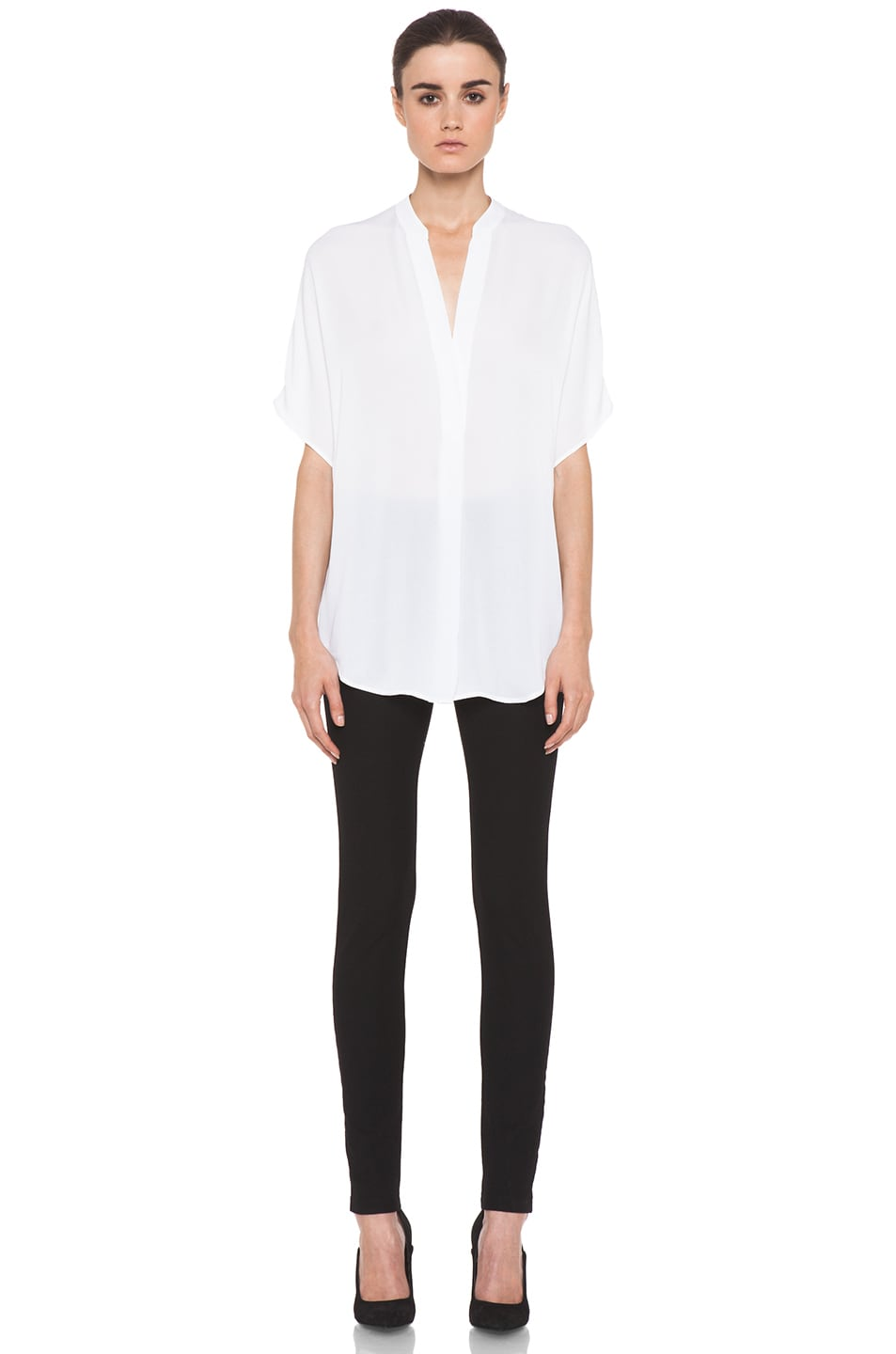 Image 5 of Vince Georgette Cap Sleeve Half Placket Blouse in White