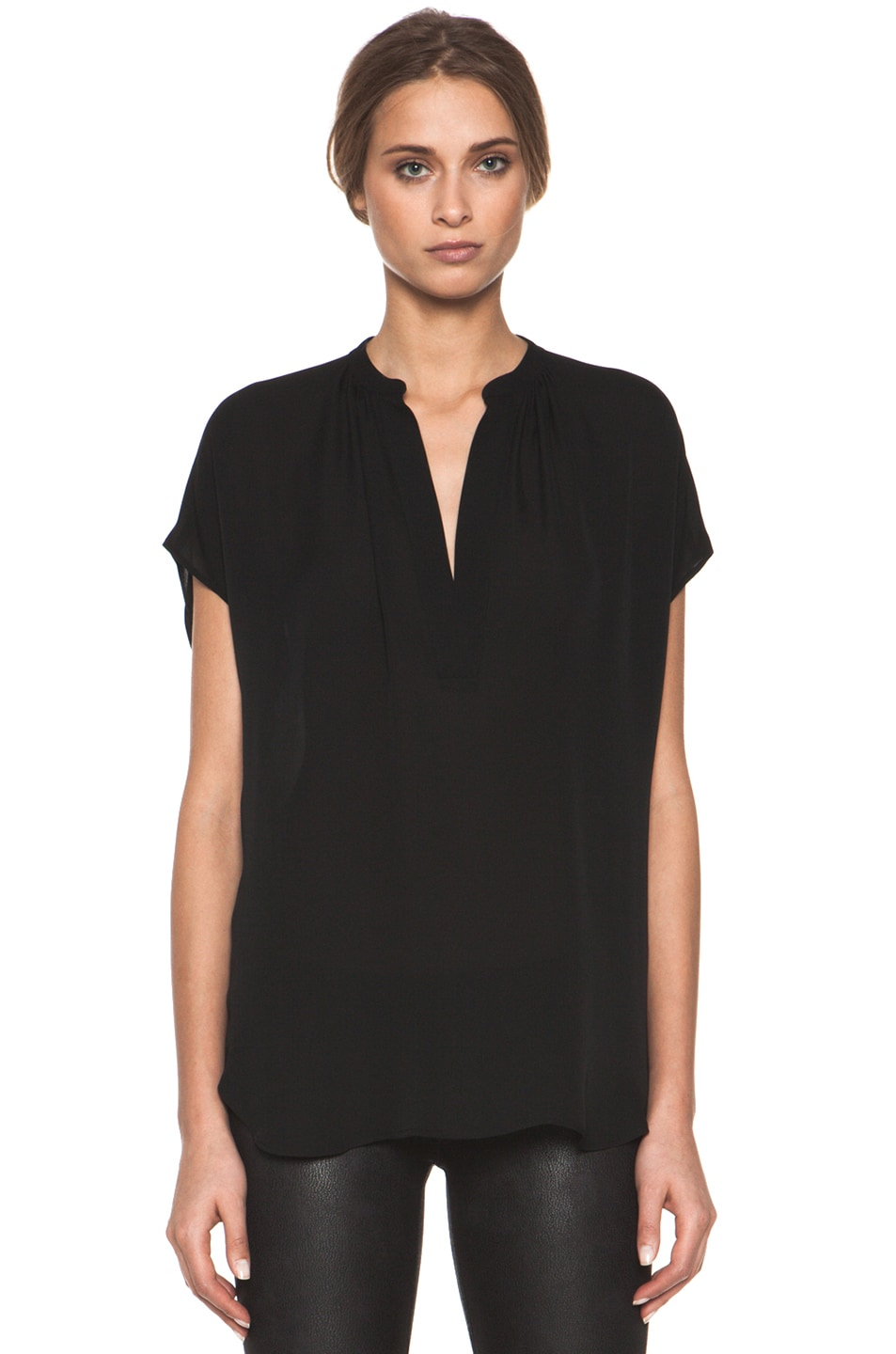 4a1cf32443e419 Image 1 of Vince Cap Sleeve  Popover  Blouse in Black