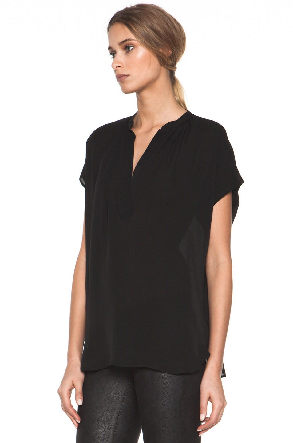 7afc6717464279 Image 2 of Vince Cap Sleeve  Popover  Blouse in Black