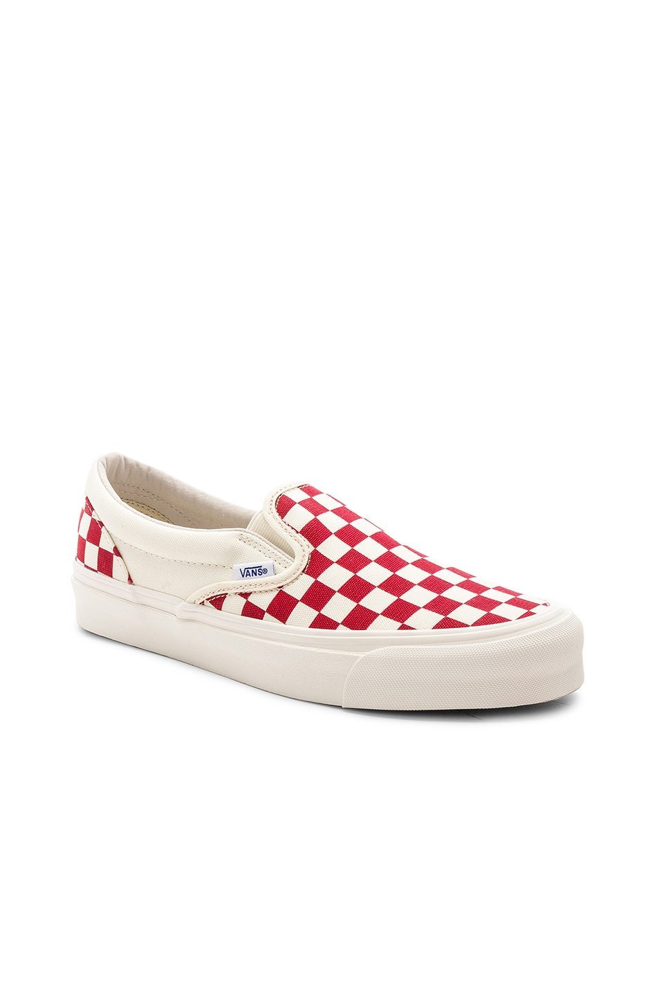 Image 1 of Vans Vault OG Classic Canvas Slip-Ons LX in White & Red