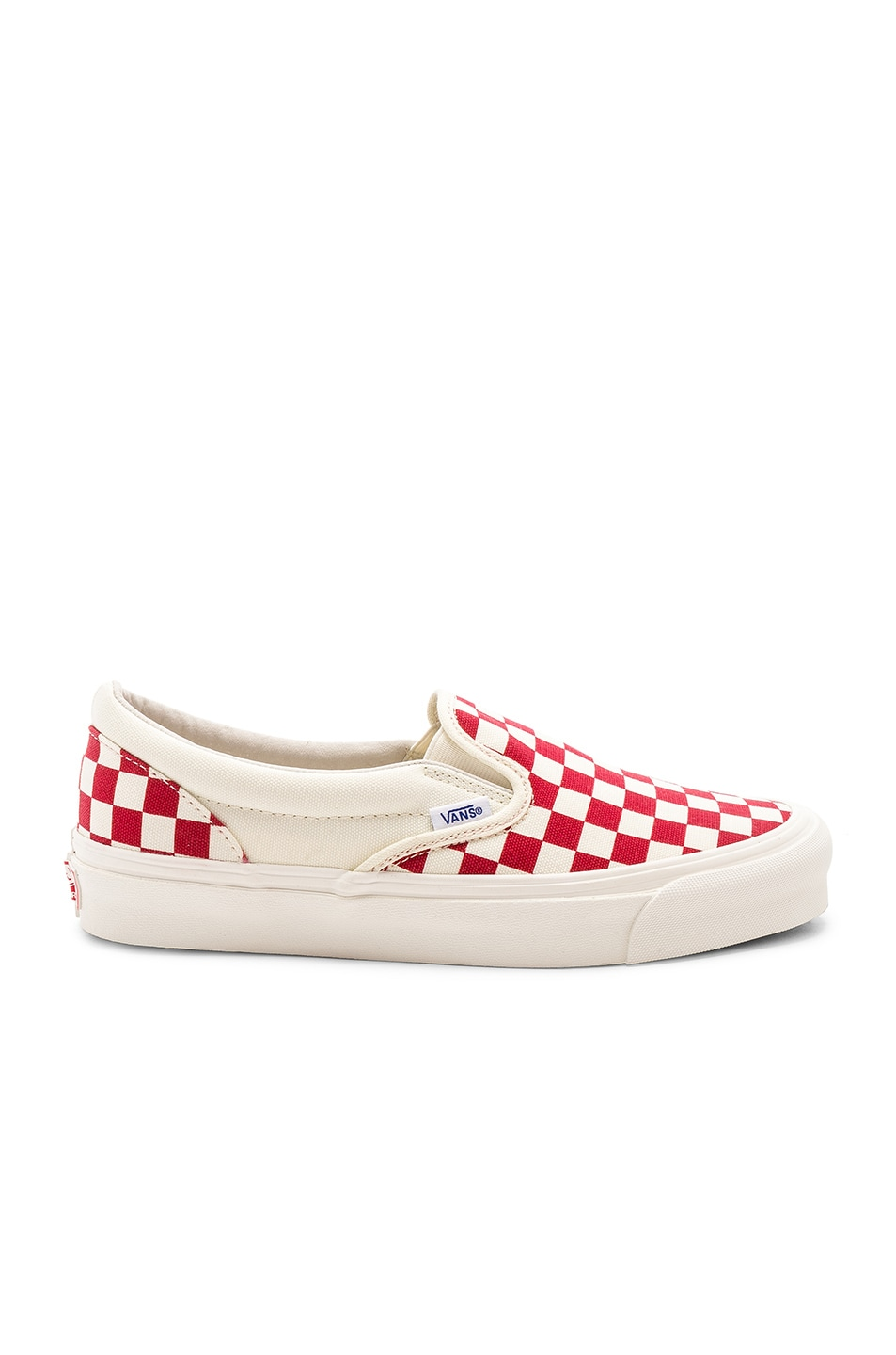 Image 2 of Vans Vault OG Classic Canvas Slip-Ons LX in White & Red