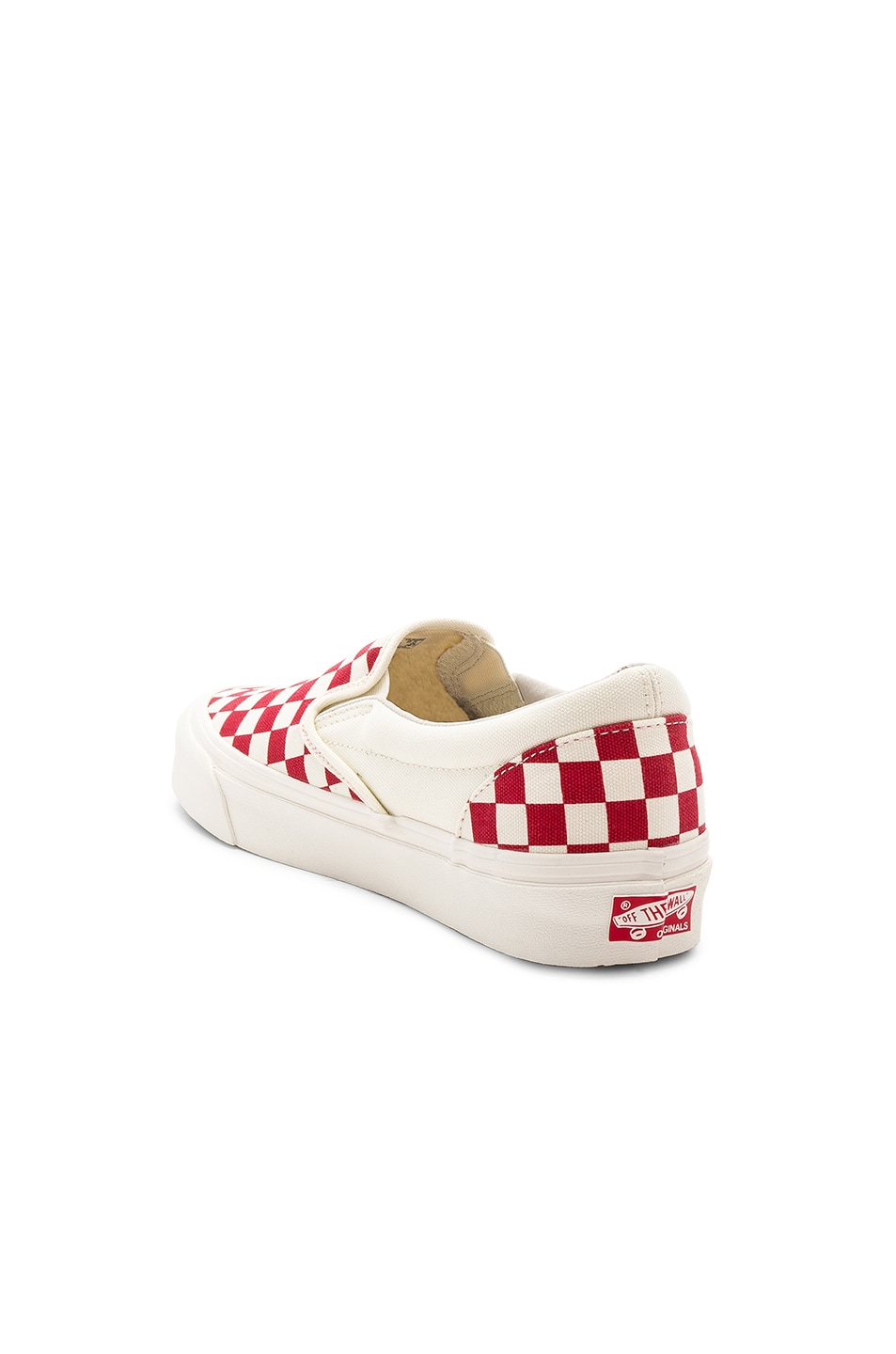 Image 3 of Vans Vault OG Classic Canvas Slip-Ons LX in White & Red