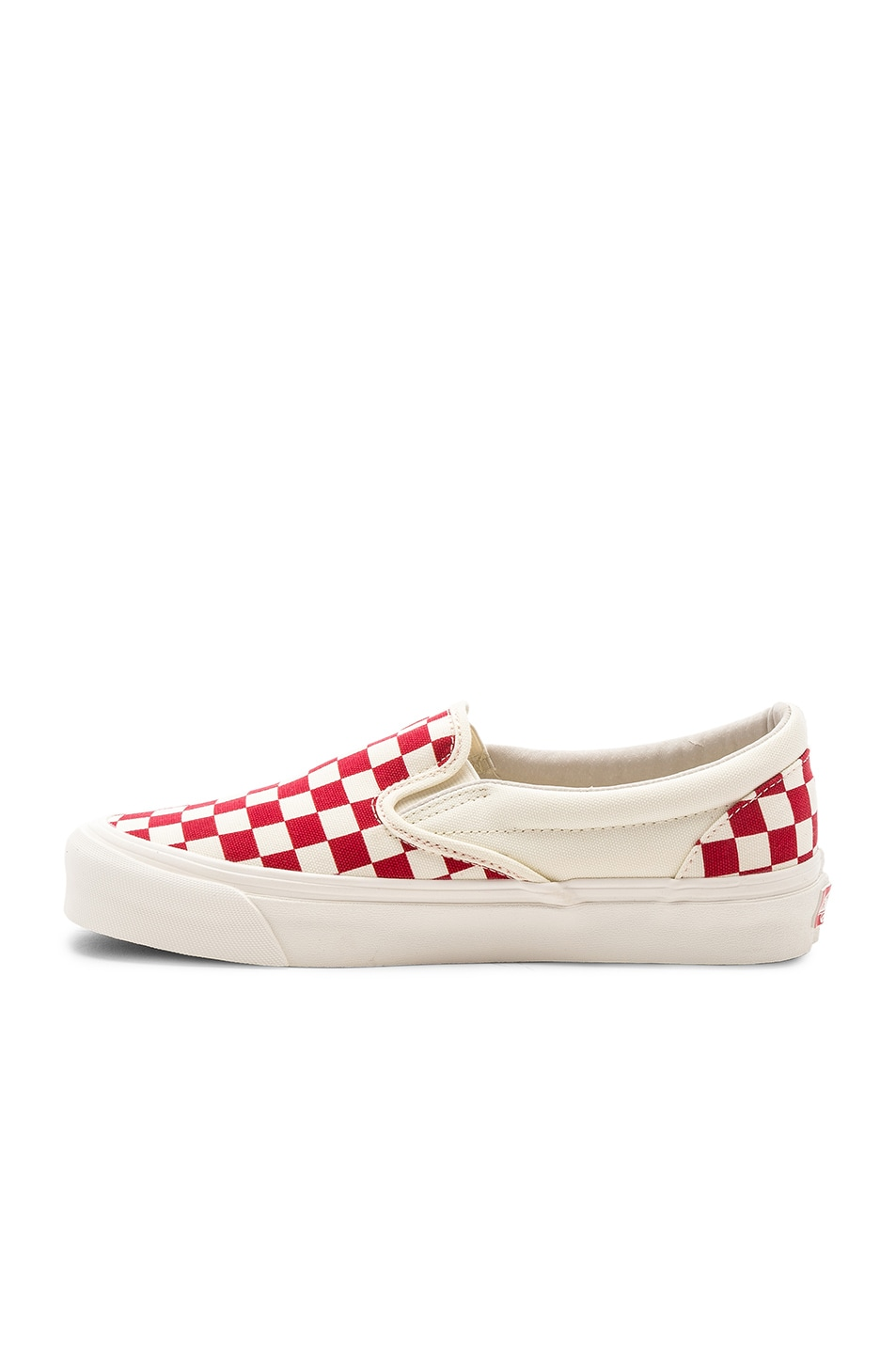 Image 5 of Vans Vault OG Classic Canvas Slip-Ons LX in White & Red
