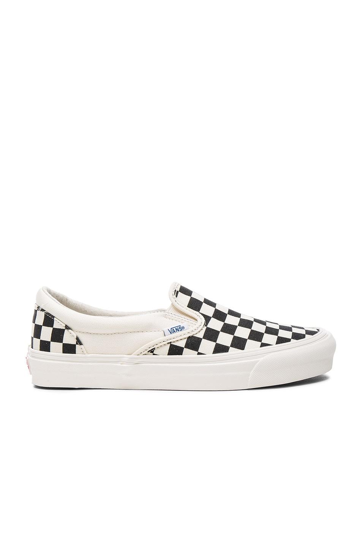 Image 2 of Vans Vault OG Classic Canvas Slip On LX in Black & White Checkerboard