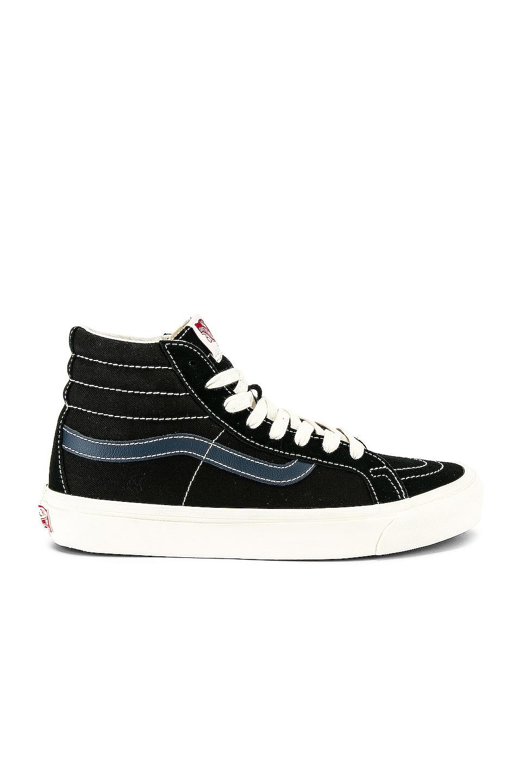 Image 1 of Vans Vault OG Sk8-Hi LX in Black & Dress Blue