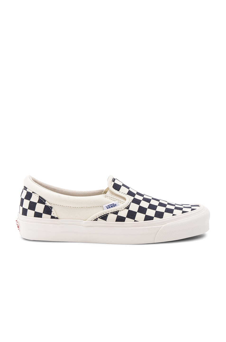 Image 1 of Vans Vault OG Classic Canvas Checkerboard Slip On LX in White & Navy