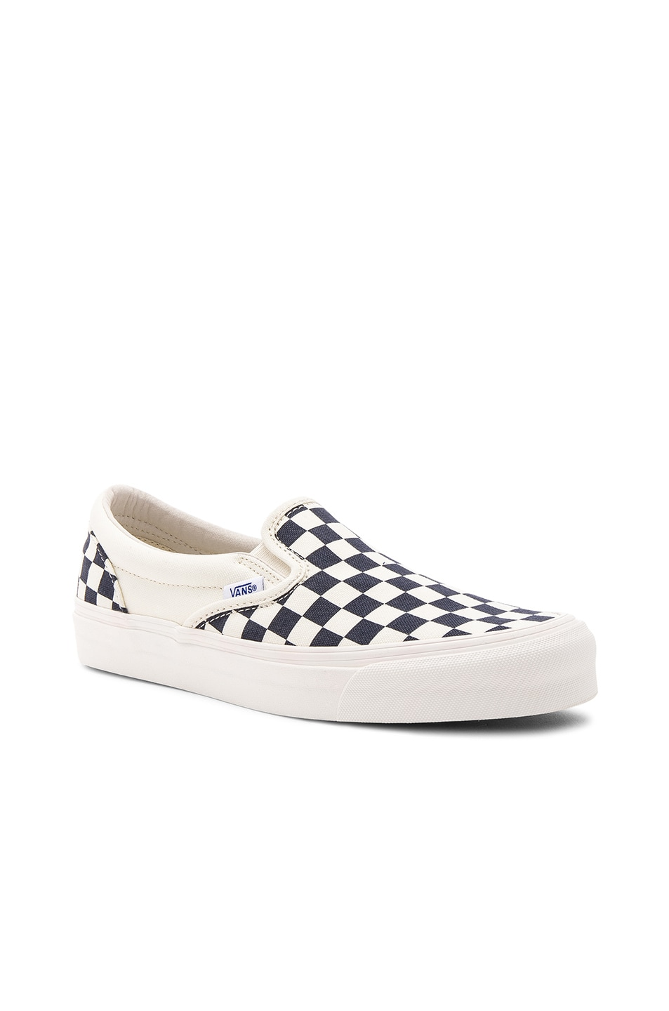 vans vault og classic slip on lx white navy & og checkerboard