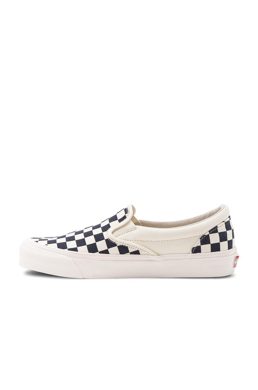 Image 5 of Vans Vault OG Classic Canvas Checkerboard Slip On LX in White & Navy