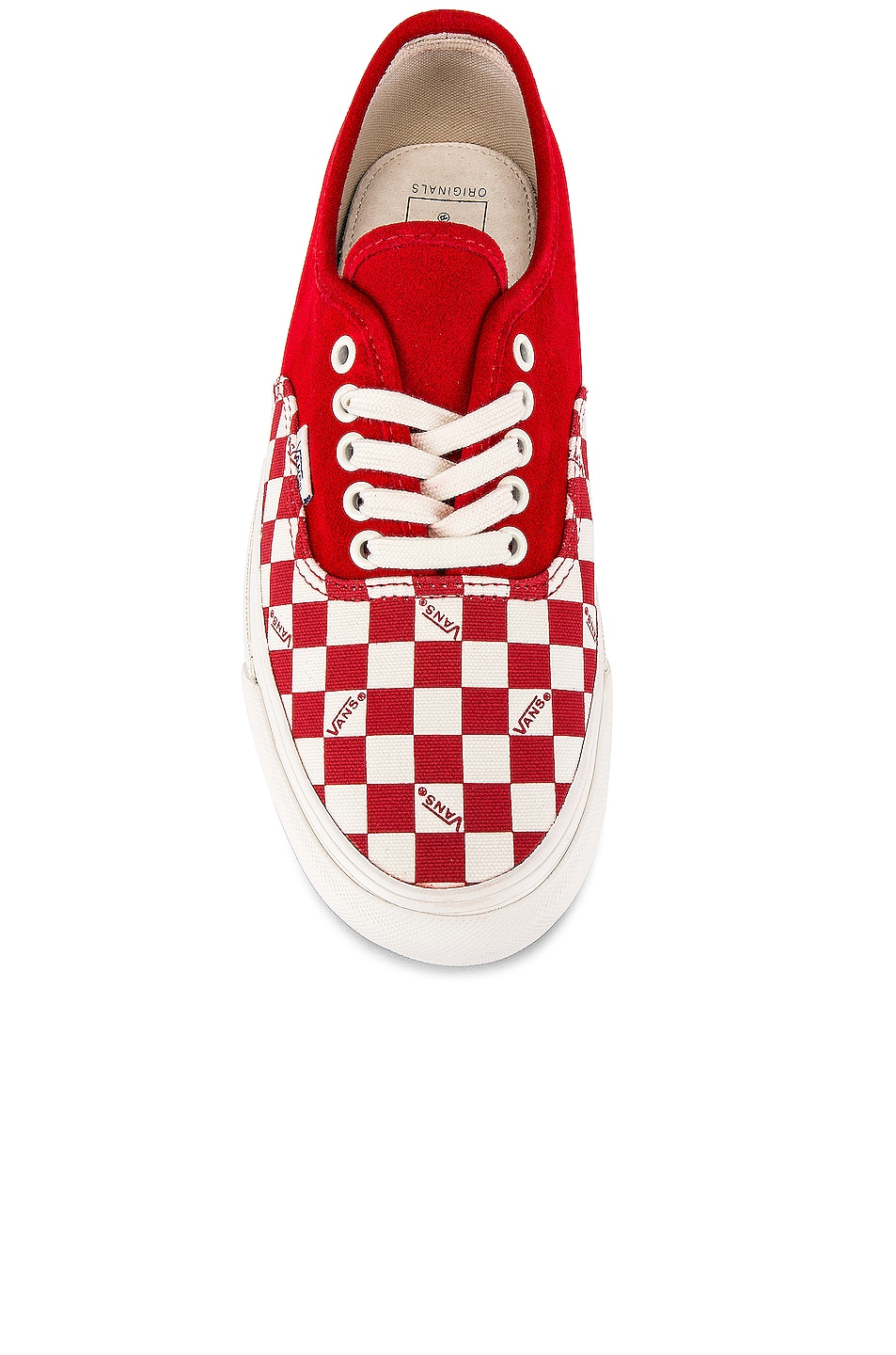 Image 4 of Vans Vault OG Authentic LX in Racing Red & Checkerboard