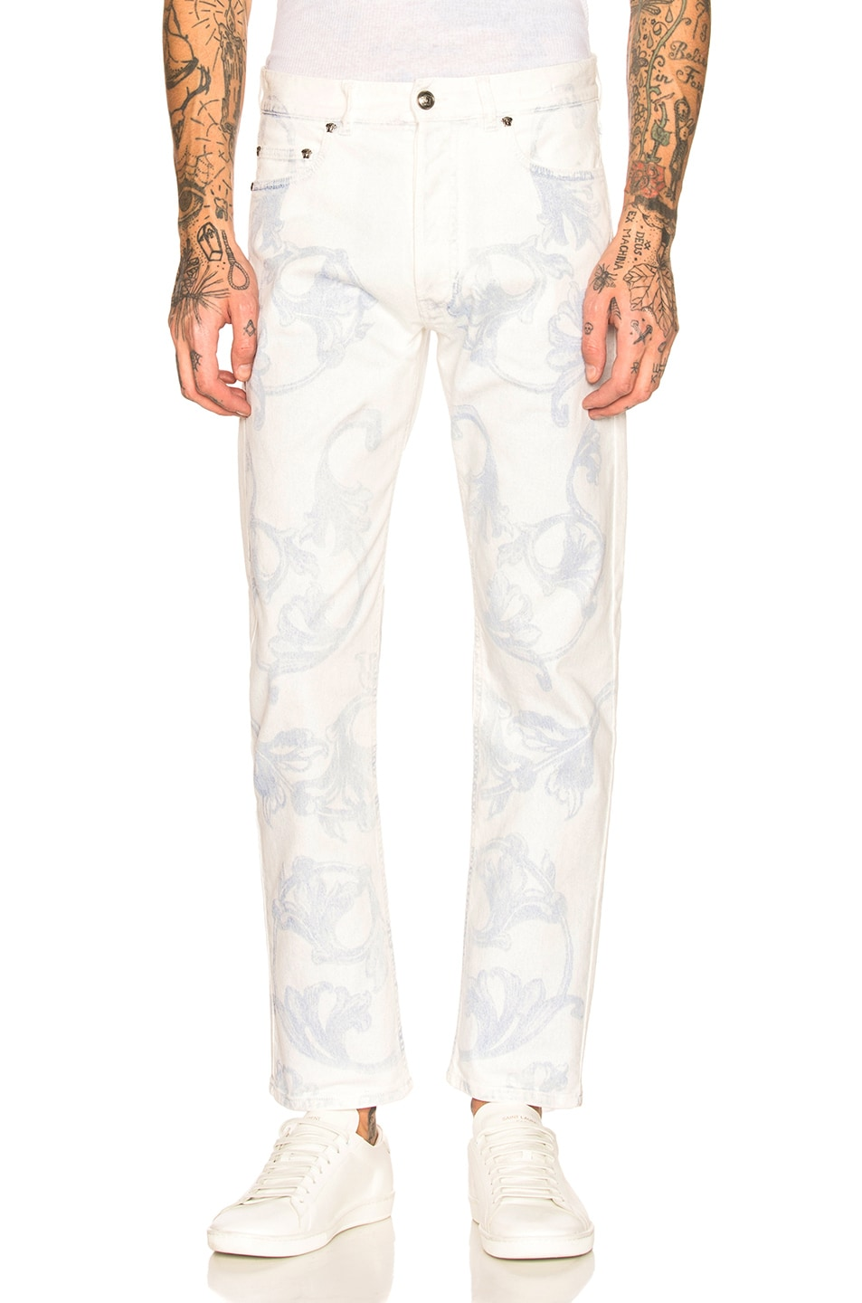 Image 1 of VERSACE Printed Jeans in White