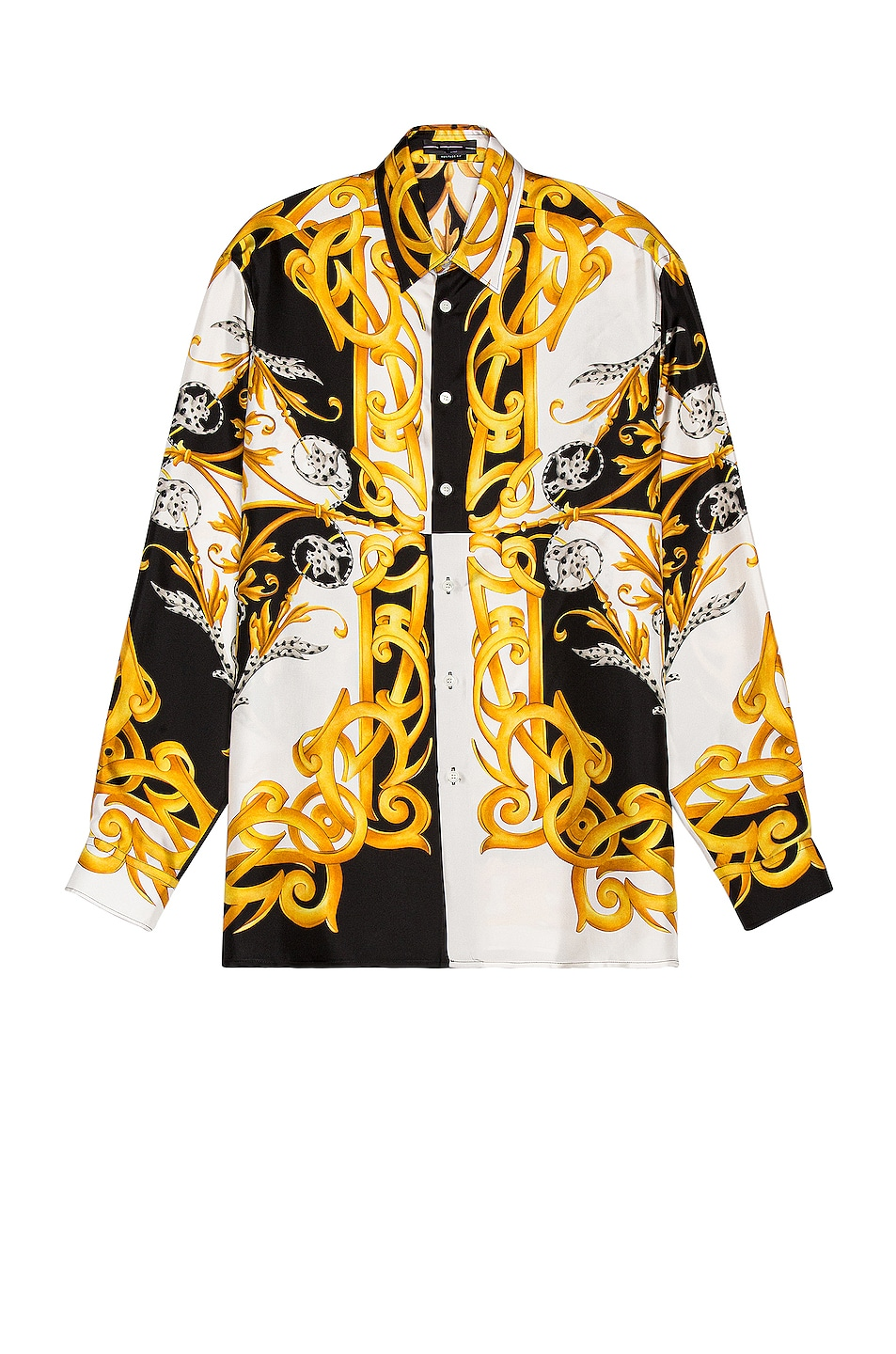 Image 1 of VERSACE Long Sleeve Shirt in White & Black & Gold