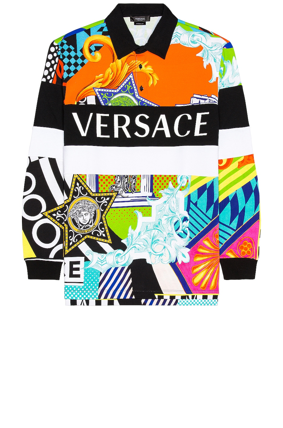 Image 1 of VERSACE Long Sleeve Mitchel Polo in Multi