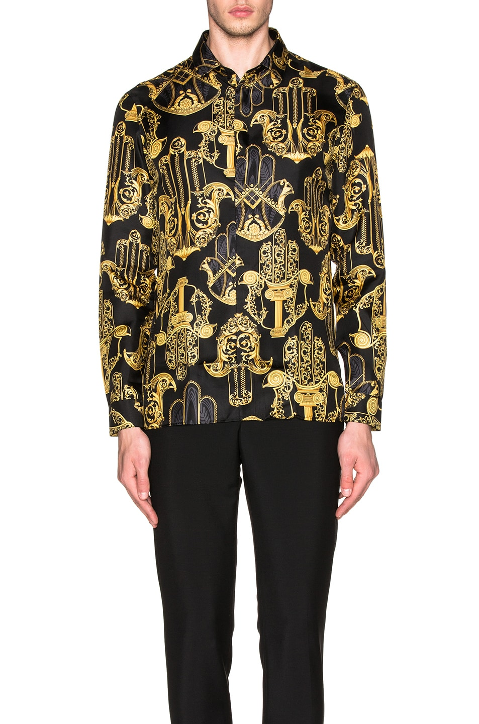 VERSACE Printed Button Down Shirt in Black & Multi | FWRD