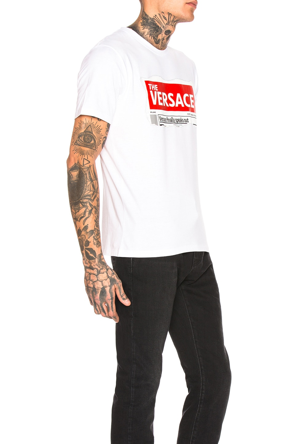 Image 2 of VERSACE Logo Tee in White