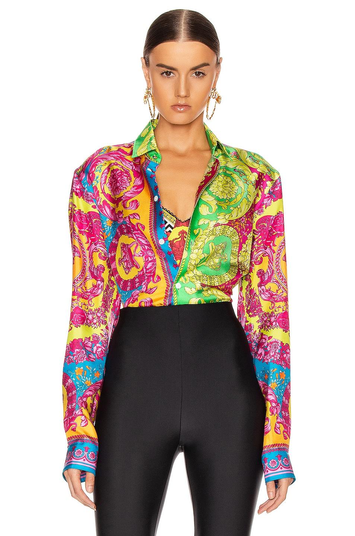 Image 1 of VERSACE Printed Silk Shirt in Multi