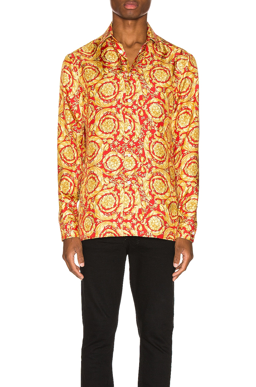 Image 1 of VERSACE Printed Silk Shirt in Red