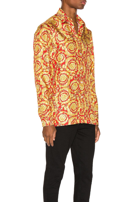 Image 2 of VERSACE Printed Silk Shirt in Red