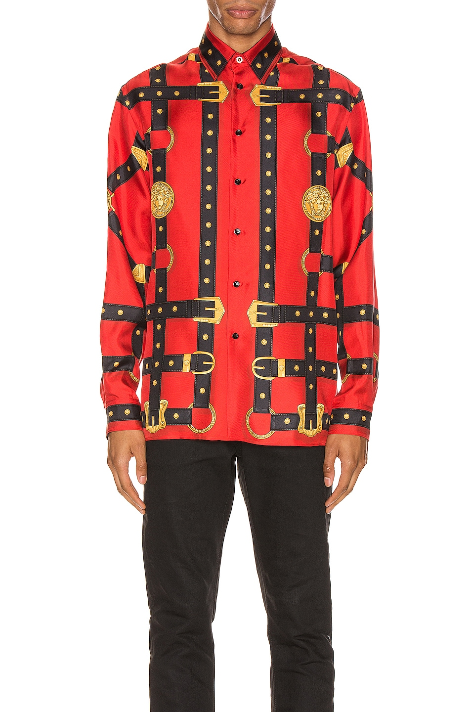 Image 1 of VERSACE Printed Long Sleeve Shirt in Red