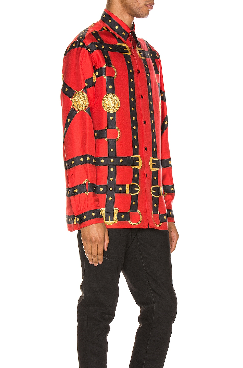 Image 2 of VERSACE Printed Long Sleeve Shirt in Red