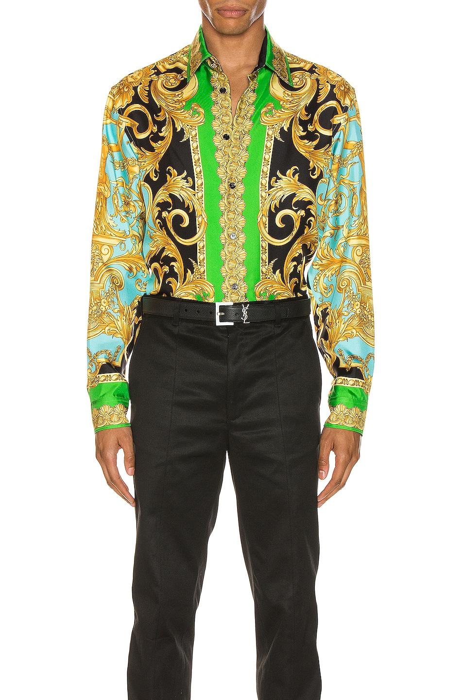 Image 1 of VERSACE Long Sleeve Print Shirt in Green & Blue