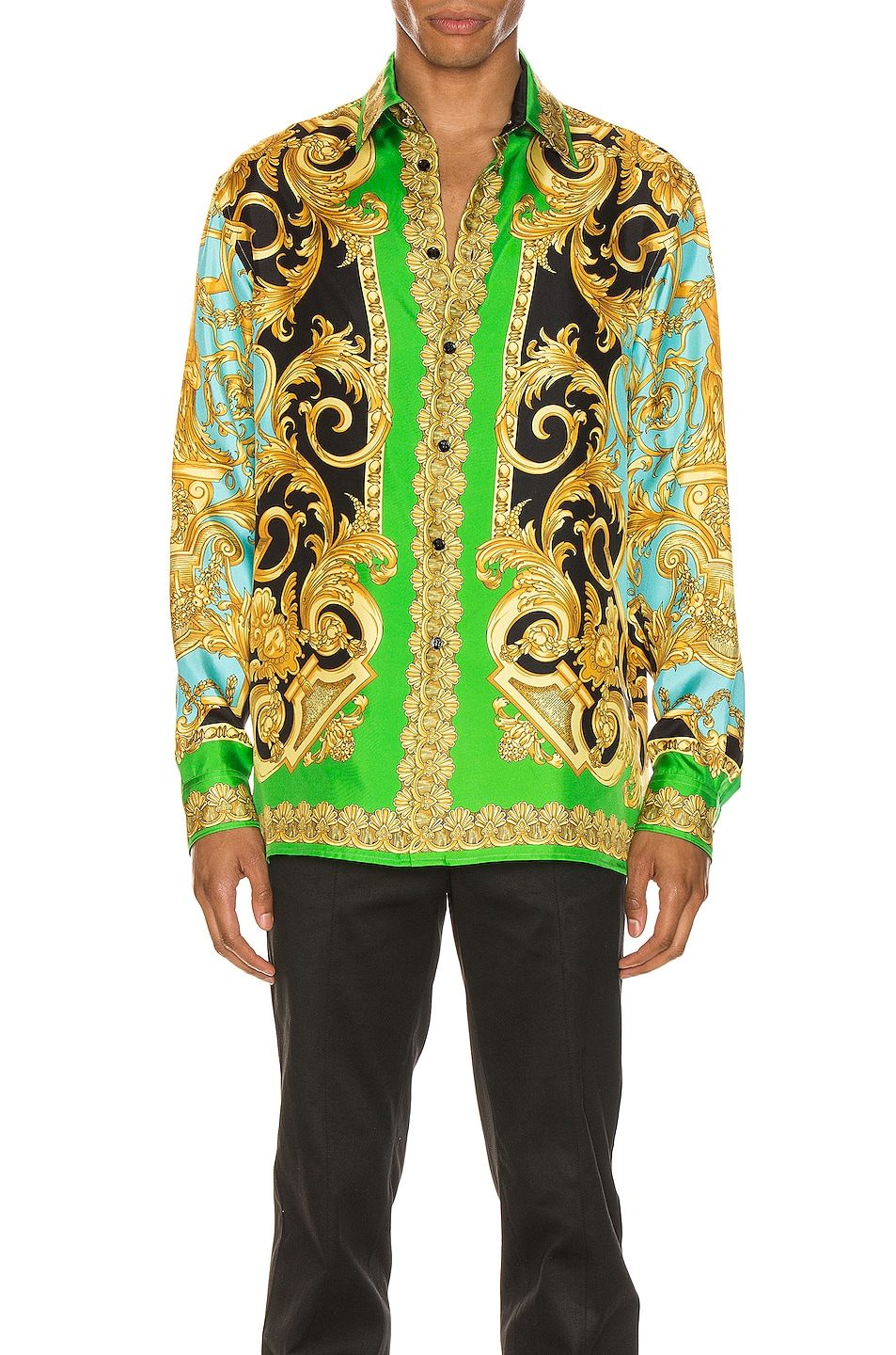 Image 2 of VERSACE Long Sleeve Print Shirt in Green & Blue