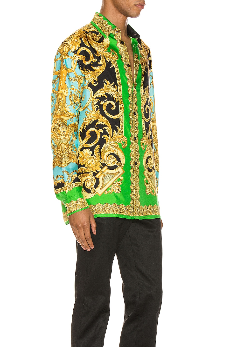 Image 3 of VERSACE Long Sleeve Print Shirt in Green & Blue
