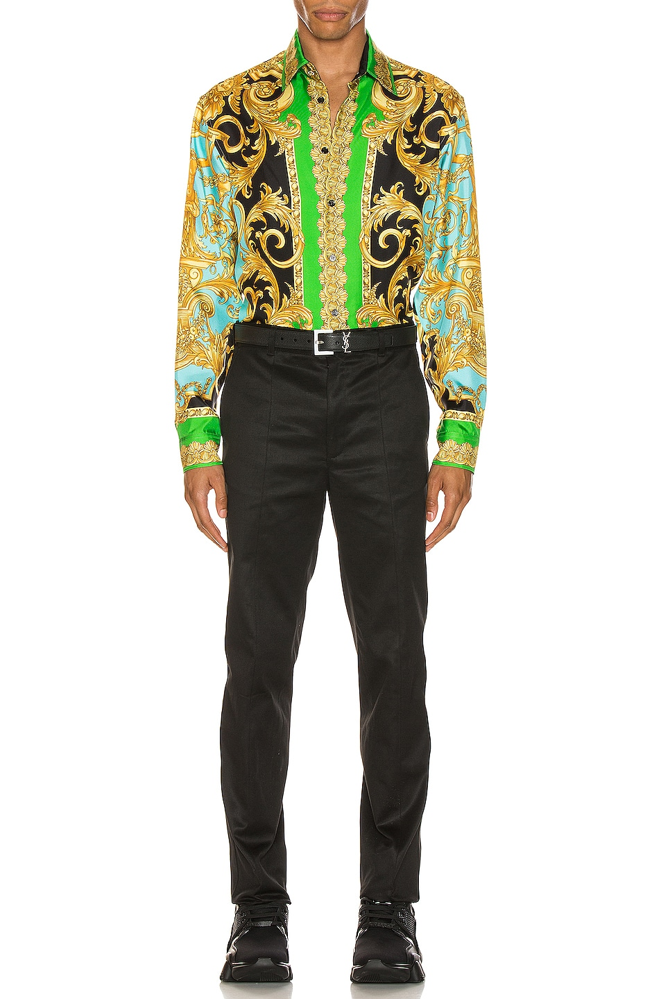 Image 5 of VERSACE Long Sleeve Print Shirt in Green & Blue