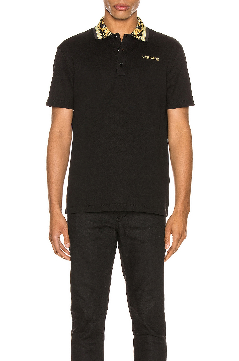 Image 1 of VERSACE Polo in Black & Gold