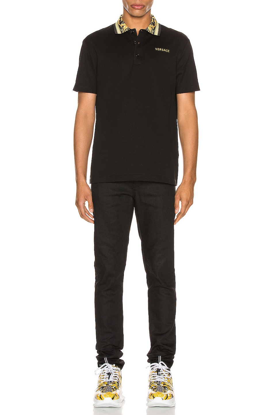 Image 4 of VERSACE Polo in Black & Gold