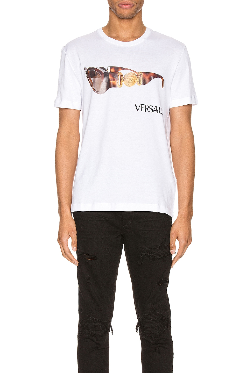 Image 1 of VERSACE Graphic Tee in Optical White