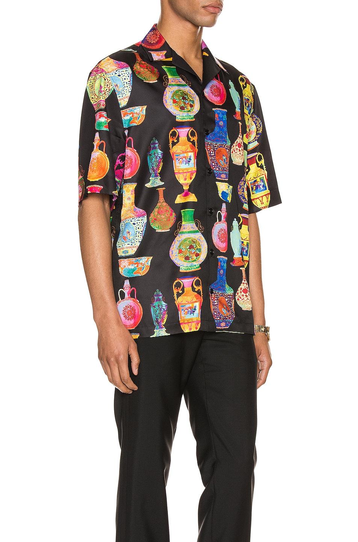Image 2 of VERSACE Short Sleeve Print Shirt in Black & Multi