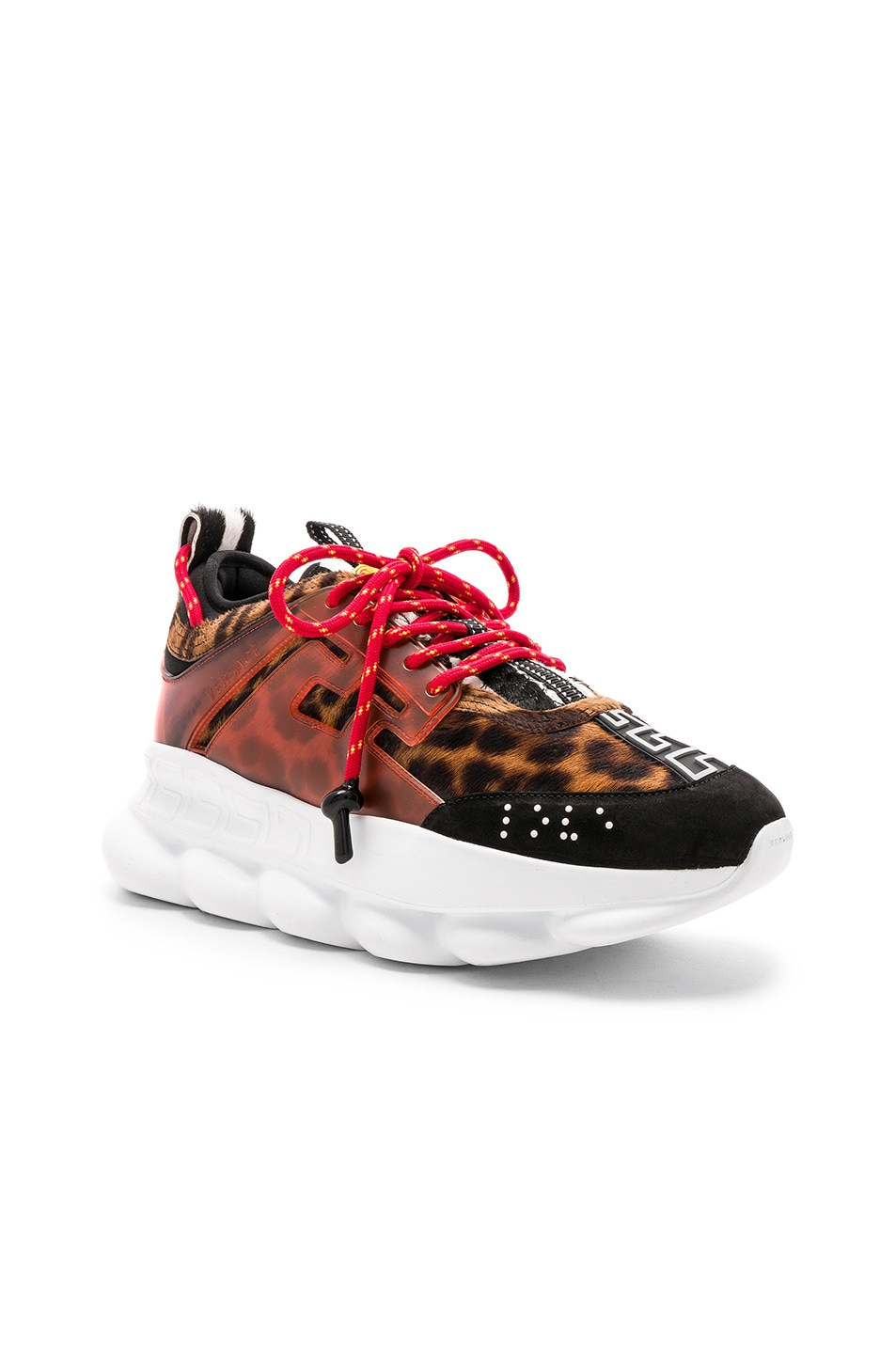 Image 1 of VERSACE Calf Hair Chain Reaction Sneakers in Black & Red Print